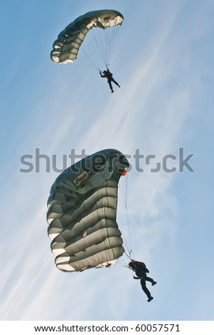 ZAGREB, CROATIA - AUG 29: Croatian police parachuter performing at Zagreb Air Show 2010  on Aug 29, 2010 in Zagreb, Croatia. The air show is held in celebration of a century of aviation  in Croatia.