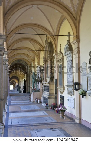 ZAGREB, CROATIA - AUGUST 21: Arcade of Mirogoj cemetery on August 21, 2012 in Zagreb, Croatia. Mirogoj is the last resting places of many famous Croatians, it was created in 1876 by architect H. Bolle