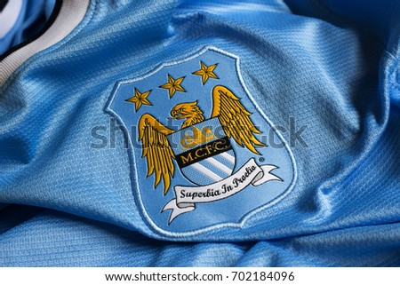 ZAGREB, CROATIA - AUGUST 24, 2017. - English football club Manchester City emblem on football jersey.