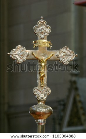 ZAGREB, CROATIA - AUGUST 16: Processional cross in Zagreb cathedral dedicated to the Assumption of Mary in Zagreb on August 16, 2017.