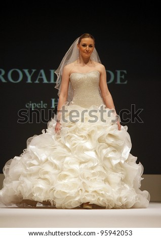 ZAGREB, CROATIA - FEBRUARY 19: Fashion model wears wedding dress made by Royal Bride on 'Wedding days' show, February 19, 2012 in Zagreb, Croatia.