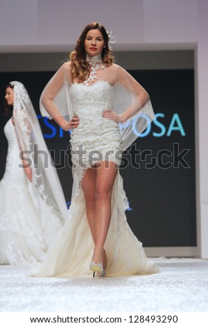 ZAGREB, CROATIA - FEBRUARY 16: Fashion model wears wedding dress made by Vesna Sposa on 'Wedding days' show, February 16, 2013 in Zagreb, Croatia.