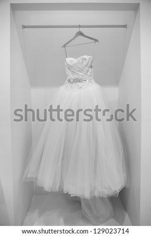 ZAGREB, CROATIA - FEBRUARY 9: Wedding dress presented on a fashion exhibition 'Wedding expo', on February 9, 2013 in Zagreb, Croatia. - stock photo