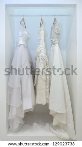 ZAGREB, CROATIA - FEBRUARY 9: Wedding dresses presented on a fashion exhibition 'Wedding expo', on February 9, 2013 in Zagreb, Croatia.