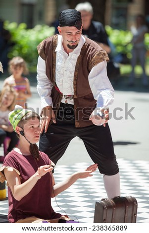 ZAGREB, CROATIA - JUNE 7, 2014: Street performers during the \