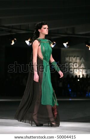 Zagreb Croatia March 24 Fashion Model Wearing Design Of Hippy Garden At