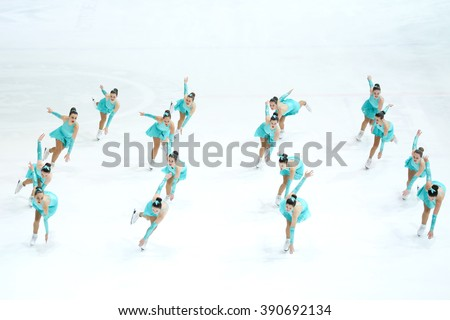 ZAGREB, CROATIA - MARCH 11 : Team Spain perform in the Juniors Short Program during Day 1 of ISU Synchronized Skating Junior World Challenge Cup at Dom Sportova on March 11, 2016 in Zagreb, Croatia. #390692134