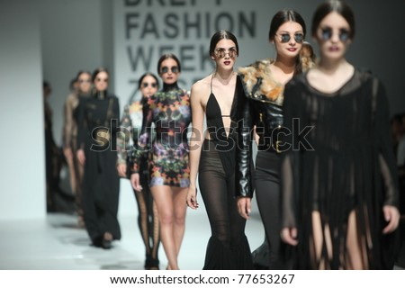 ZAGREB, CROATIA - MAY 19: Fashion models wear clothes made by Maria Escote in 'Fashion Week' show on May 19, 2011 in Zagreb, Croatia.
