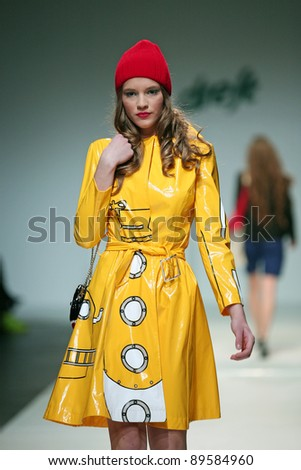 ZAGREB, CROATIA - NOVEMBER 24: Fashion model wears clothes made by The Rodnik Bandar on 'Fashion Week Zagreb' show on November 24, 2011 in Zagreb, Croatia.
