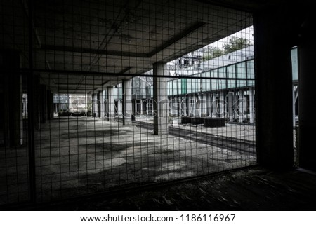 Zagreb, Croatia, 09/22/2018 -Old abandoned National University hospital on the outskirts of Zagreb that was never finished and was one of the biggest construction projects in former Yugoslavia. #1186116967