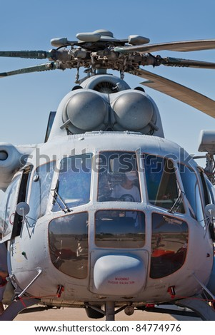 ZAGREB, CROATIA - SEPT 3: Front side of the Croatian military helicopter Mi-171sh during 11th International Zagreb Air Show on Sept 3, 2011 in Zagreb, Croatia.