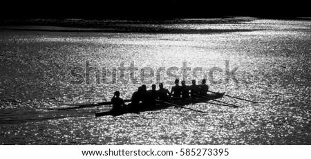 ZAGREB,CROATIA-2015:Unidentified people boats racing. Rowing B&W Zdjęcia stock ©