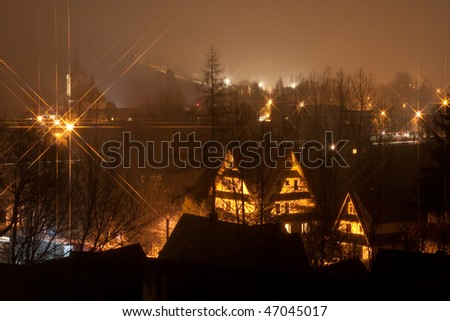 Zakopane night, Poland, Tatra - stock photo