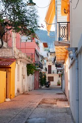 Zakynthos street view. This Greek island in the Ionian Sea is a popular tourist destination for summer vacations