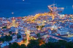 Zakynthos town by night. Holiday concept- Zakynthos island, Greece.