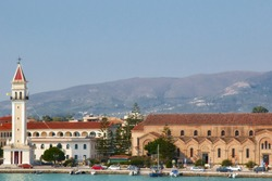 Zakynthos Town, Greece - view from the pier to the Lomvardou street, Church Saint Dionisos and the Bell Tower, in summer