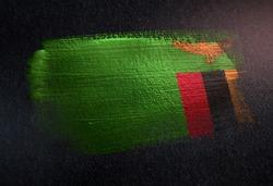 Zambia Flag Made of Metallic Brush Paint on Grunge Dark Wall