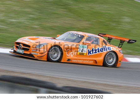 ZANDVOORT, THE NETHERLANDS - MAY 6: Daniel Dobitsch and Florian Stoll in the kfzteile24 MS RACING Mercedes-Benz SLS AMG GT3 racing on May 6, 2012 in the ADAC GT Masters in Zandvoort, The Netherlands