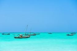 ZANZIBAR TANZANIA Boats in Nungwi beach in Zanzibar Tanzania