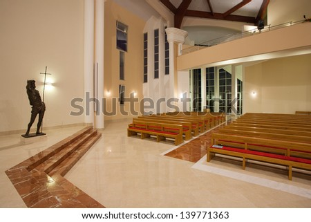 ZAPRESIC, CROATIA - MAY 21: Modern new Zapresic church interior on May 21, 2013 in Zapresic, Croatia. The church was being built for 20 years and was consecrated on May 26.