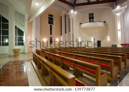 ZAPRESIC, CROATIA - MAY 21: Modern Zapresic church interior on May 21, 2013 in Zapresic, Croatia. The church was being built for 20 years and was consecrated on May 26.