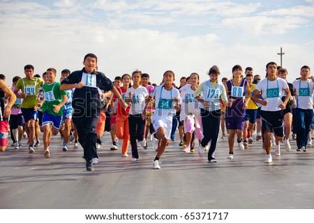 ZARAFSHAN, UZBEKISTAN - OCTOBER 16: Traditional athletics memory Vasiliy Poverennov.  October 16, 2010 in Zarafshan, Uzbekistan.