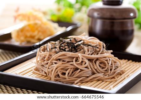Zaru soba noodles with tempura , japanese food Stock fotó ©