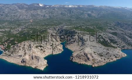 Zavratnica bay below the Alan mountain pass in the area of central Velebit mountain, Adriatic coast