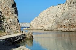 Zavratnica Bay, Jablanac, Croatia - a bay with wrack of a battleship from WW2