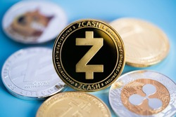Zcash TRON, Ripple coin XRP, Dogecoin DOGE, Litecoin LTC  bitcoin BTC, Binance Coin, group included with Cryptocurrency coin symbol Virtual blockchain technology e-banking is money close-up and macro