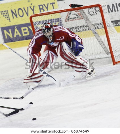 ZDAR, CZECH REP - OCT 5: Jiri Slama (goalie) from Zdar in match Zdar vs Kolin at Czech League October 5, 2011 in Zdar, Czech Republic. Final score 2:4
