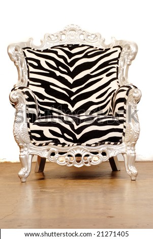 zebra chair isolated on white