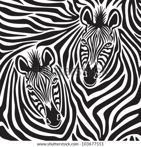 Zebra Couple repeating pattern. - stock photo