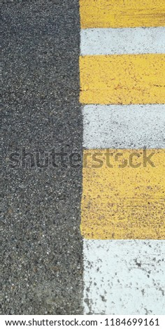 Zebra crossing - element of the Road. Gray lines, yelloy lines and White lines.  #1184699161
