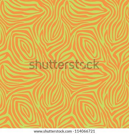Zebra Stripe Pattern in orange and green. This is a four-tile repeat of the pattern.