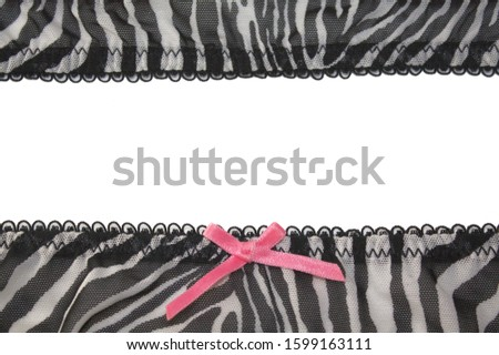 Zebra textile stripes with pink bow decor frame and white empty copyspace background Stock fotó ©