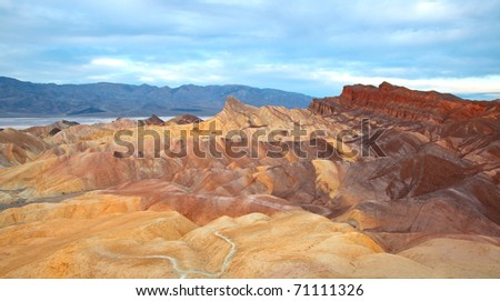 Zebriskie Point on cloudy morning in Death Valley National Park, California. - stock photo