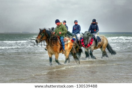 """ZEELAND,NETHERLANDS - FEB. 23: A group of men on horses participate in the annual event """"strao""""; a historic celebration where horses feet are washed in the sea on February 23, 2013 in Zeeland."""
