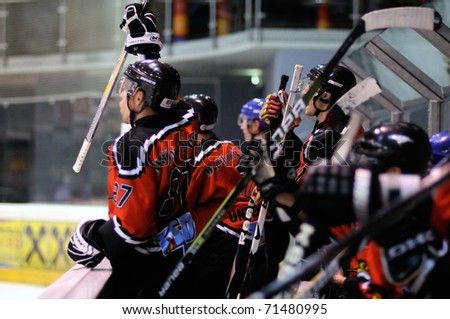 ZELL AM SEE, AUSTRIA - FEB 13: Salzburg hockey League. Schuttdorf bench celebrating goal. Game SV Schuttdorf vs HCS Morzg  (Result 9-3) on February 13, 2011 at the hockey rink of Zell am See