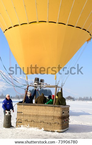 ZELL AM SEE, AUSTRIA - JAN 26: BP Gas Balloon Trophy 2010. 47 Balloon pilots of seven nations starting for the international balloon trophy on January 26 2010 in Zell am See, Austria.