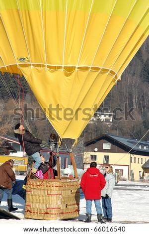 ZELL AM SEE, AUSTRIA - JAN 26: BP Gas Balloon Trophy 2010. 47 Balloon pilots of seven nations start for the international balloon trophy on January 26 2010 in Zell am See, Austria.