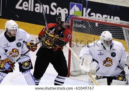 ZELL AM SEE, AUSTRIA - SEPTEMBER 3: Red Bulls Salute Tournament. Brett McLean (15) in front of Jokerit Goal. Game Jokerit Helsinki vs. SC Bern (Result 0-2) on September 3, 2010 in Zell am See
