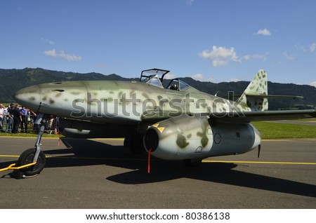 ZELTWEG, AUSTRIA - JULY 01: German World War II jet fighter Messerschmitt Me 262 by airshow - airpower11 - on July 01, 2011 in Zeltweg, Austria