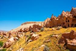 Zelve Open Air Museum in Cappadocia Turkey. Fairy chimneys in Cappadocia. Landmarks and historical places of Turkey.
