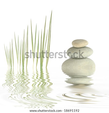 Zen abstract of grey spa stones and bamboo grass with reflection in  rippled water, over white background.