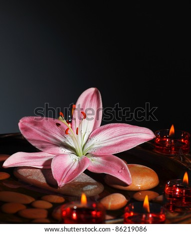 Zen Atmosphere At Spa Salon Warm Candles Light At Dark