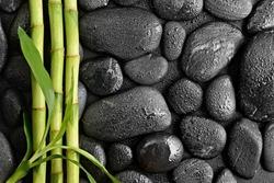 zen basalt stones and bamboo leaves