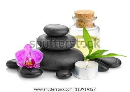 zen basalt stones and orchid