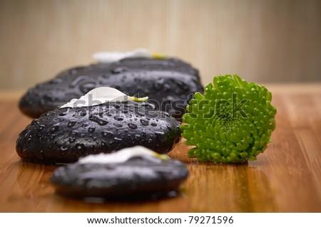 zen black stone with green flowers