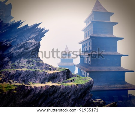 Zen buddhist temples in the mountains